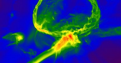 Snapshot from a simulation of the first stars in the Universe, showing how the gas cloud might have become enriched with heavy elements. The image shows one of the first stars exploding, producing an expanding shell of gas (top) which enriches a nearby cloud, embedded inside a larger gas filament (centre). The image scale is 3,000 light years across, and the colourmap represents gas density, with red indicating higher density. Image credit: Britton Smith, John Wise, Brian O'Shea, Michael Norman, and Sadegh Khochfar.