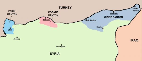 The Three Cantons of Western Kurdistan: Source: Wikimedia