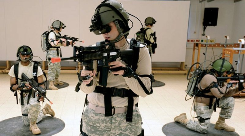 Soldiers training with first fully immersive virtual simulation for infantry at 7th Army Joint Multinational Training Command in Grafenwoehr, Germany, December 2013 (U.S. Army/Markus Rauchenberger)
