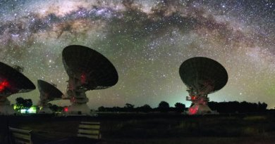 CSIRO's Compact Array in Australia is shown under the night lights of the Milky Way. Credit Alex Cherney