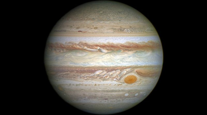 View of Jupiter in natural color. Photo Credit: NASA, ESA, and A. Simon (Goddard Space Flight Center), Wikipedia Commons.