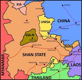 Figure 1: Map of Shan State with Key Areas of Influence and Trade Routes (Prepared by the author), Red: Main amphetamine distribution routes. Amphetamine labs are concentrated in the southern territory of UWSA. Purple: Ancillary trade and arms smuggling routes used by the UWSA