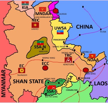 Figure 3: Factional Map of Rebel Areas of Influence and Military Garrisons in Shan State (Prepared by the author), Tatmadaw: North-Eastern Command (Lashio) – 30x Battalions; Eastern Command (Taunggyi) – 42x Battalions; Triangle Region Command (Kengtung) – 23x Battalions; Eastern Central Command(Kho Lam) – unknown; Laukkai Regional Operations Command and Wanhseng Regional Operations Command – 8x Battalions
