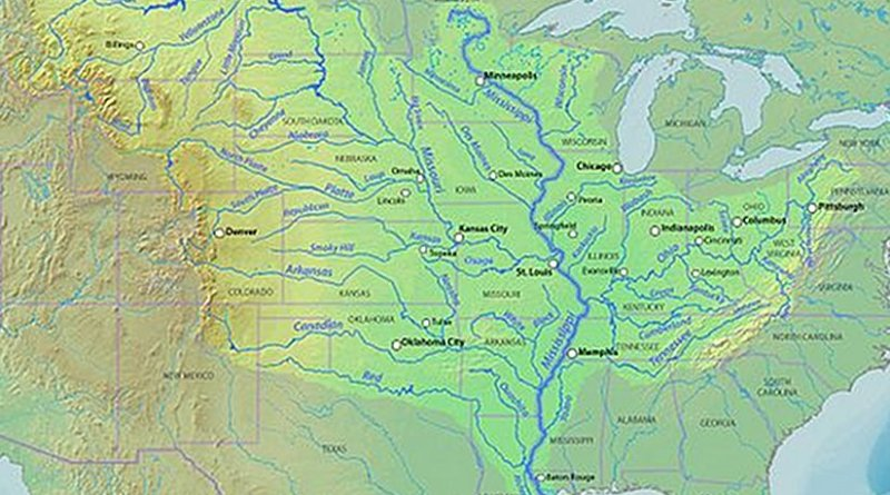 Detailed map of Mississippi River tributary structure. Credit: Shannon - DEMIS Mapserver, Wikipedia Commons.