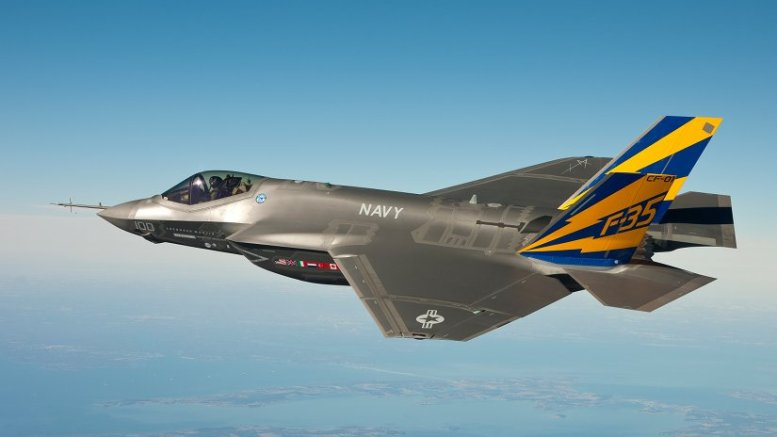 An F-35C Lightning II, marked CF-01, conducts a test flight over Chesapeake Bay. Photo by Andy Wolfe, Wikipedia Commons.