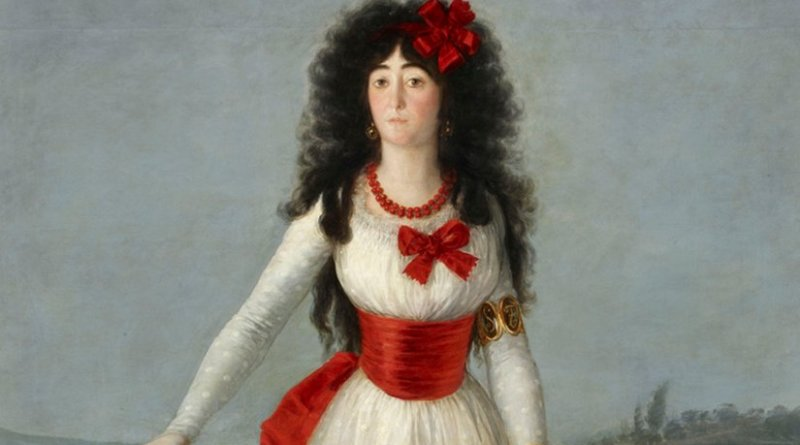 Section of painting 'The White Duchess,' Francisco de Goya, 1795. Source: Wikipedia Commons.