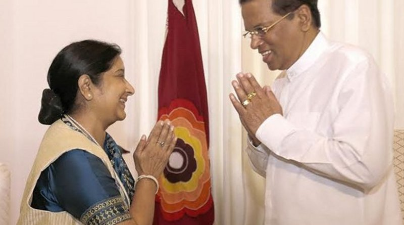 Indian Foreign Minister Mrs. Sushma Swaraj meets with Sri Lanka's President Maithripala Sirisena. Photo Credit: Sri Lanka government.