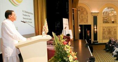 Sri Lanka's President Maithripala Sirisena addresses the Sri Lanka – Germany business forum. Photo Credit: Sri Lanka President's Office.