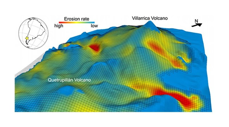 3D model simulation of a glaciation on the Villarrica Volcano (Chile)
