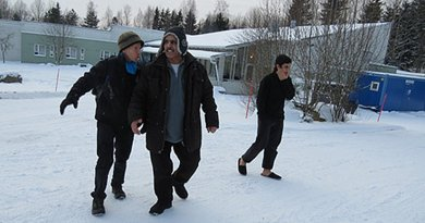 The author, Mohammad and Omar at a Finnish camp for asylum seekers, January 2016