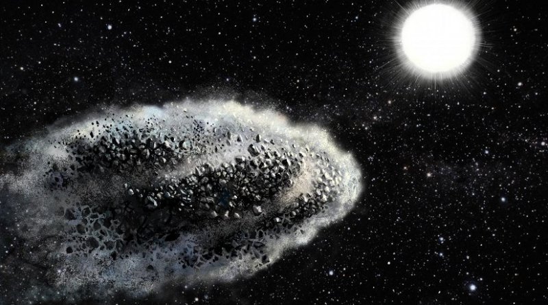 The actual mechanism causing asteroids to disrupt is still unknown but some obvious scenarios such as tidal forces caused by the Sun and direct sublimation of silicates have been ruled out. One of the remaining scenarios is that volatiles inside the asteroid sublimate at moderate temperatures and create enough pressure to blow up the body. A similar process on a smaller scale called spalling can also break up surface rocks. Credit: Lauri Voutilainen