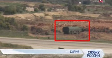According to Russian military website military-informant.com an Iskander SS-26 Stone short-range ballistic missile complex was spotted on March 27 near the Hmeymim airbase used by Russia for its airborne attacks. It is claimed the launch complex was spotted in the background of a Russian armed forces video clip.