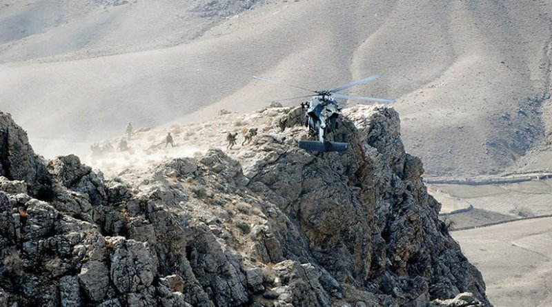 Special operations forces are extracted from mountain pinnacle in Zabul Province, Afghanistan, after executing air-assault mission to disrupt insurgent communications (U.S. Army/Aubree Clute)