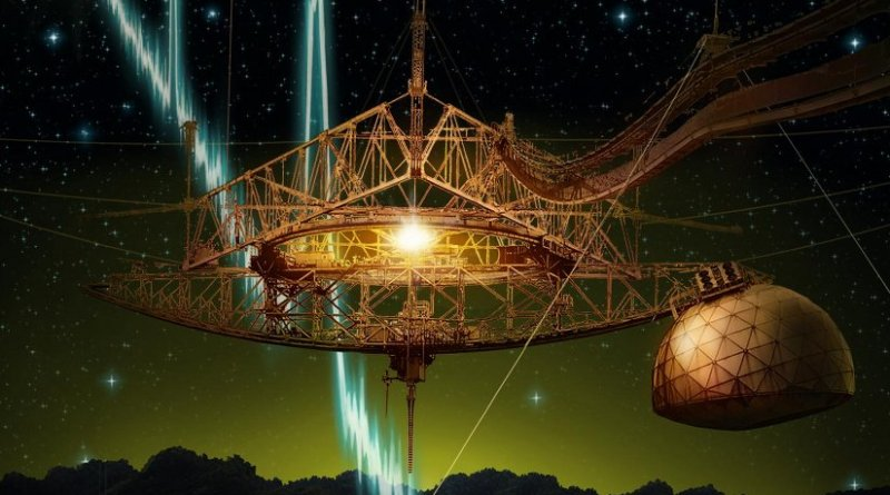 The 305-m Arecibo telescope and its suspended support platform of radio receivers is shown amid a starry night. From space, a sequence of millisecond-duration radio flashes are racing towards the dish, where they will be reflected and detected by the radio receivers. Such radio signals are called fast radio bursts, and Arecibo is the first telescope to see repeat bursts from the same source. Credit Danielle Futselaar