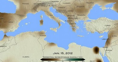 For January 2012, brown shades show the decrease in water storage from the 2002-2015 average in the Mediterranean region. Units in centimeters. The data is from the Gravity Recovery and Climate Experiment, or GRACE, satellites, a joint mission of NASA and the German space agency. Credit Credits: NASA/ Goddard Scientific Visualization Studio