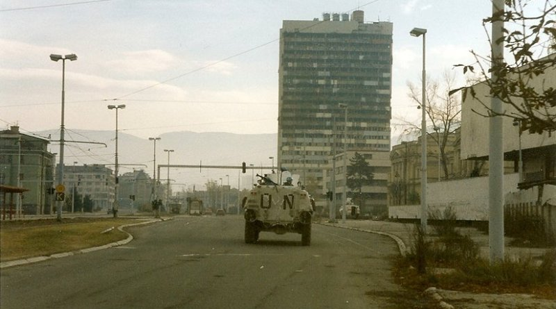 "Norwegian Sisu from NORLOGBAT APC at ""Sniper Alley"" in Sarajevo, Yugoslavia, December 1995. Photo by Paalso, Wikipedia Commons."