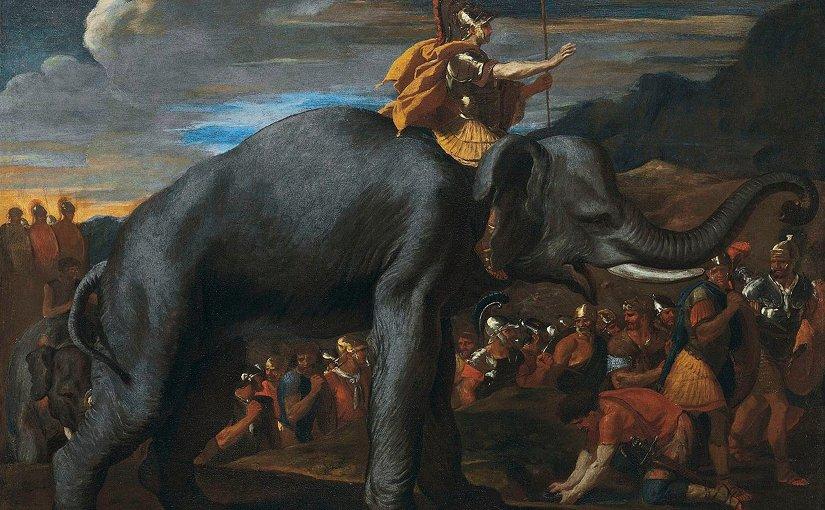 Hannibal traversant les Alpes à dos d'éléphant by Nicolas Poussin