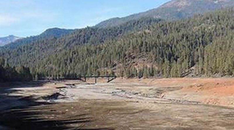 California's Trinity Lake is a mere shadow of its former self, since drought arrived. Credit USGS
