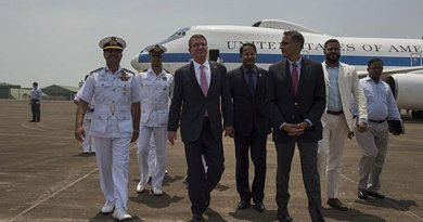 US Defense Secretary Ash Carter, left, walks with U.S. Ambassador to India Richard Verma, right, as he arrives in Goa, India, April 10, 2016. Carter is visiting India and the Philippines to solidify the U.S. rebalance to the Asia-Pacific region. DoD photo by Air Force Senior Master Sgt. Adrian Cadiz