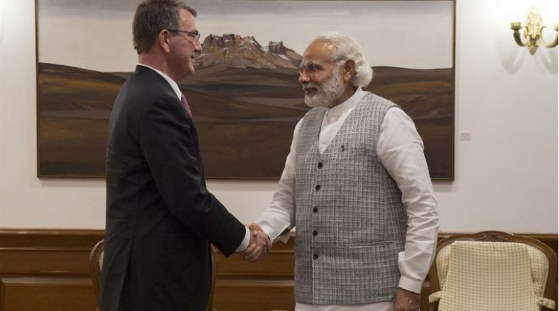 US Defense Secretary Ash Carter, left, shakes hands with Indian Prime Minister Narendra Modi as Carter arrives at the prime minister's residence to discuss matters of mutual importance in New Delhi, April 12, 2016. DoD photo by Air Force Senior Master Sgt. Adrian Cadiz