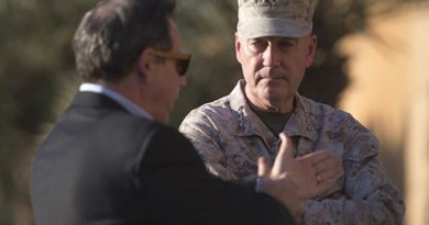 U.S. Ambassador to Iraq Stuart Jones speaks to Marine Corps Gen. Joe Dunford, chairman of the Joint Chiefs of Staff, after Dunford arrived at Baghdad International Airport in Iraq, April 20, 2016. DoD photo by Navy Petty Officer 2nd Class Dominique A. Pineiro