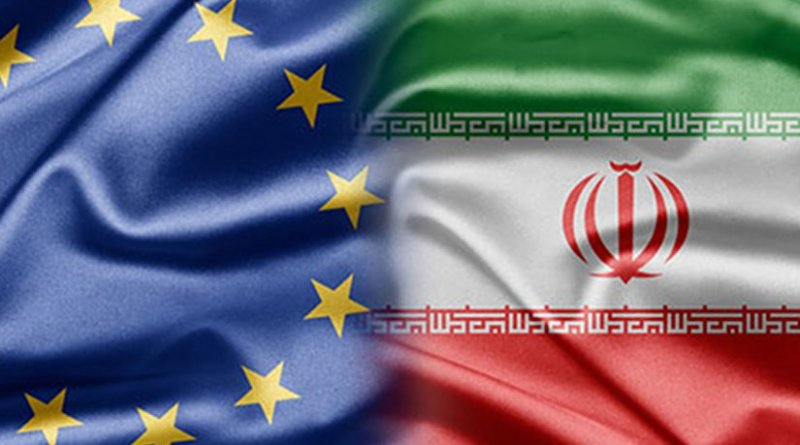 Flags of European Union and Iran
