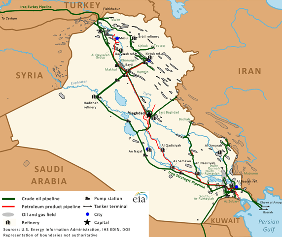 Figure 1. Iraq's oil and natural gas infrastructure