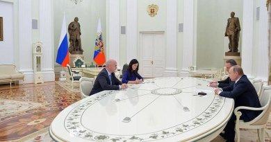 Russia's Vladimir Putin meets with FIFA President Gianni Infantino. Credit: Kremlin.ru