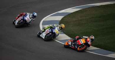 Grand Prix (MotoGP) motorcycle racing. Photo by Robert Scoble, Wikipedia Commons.