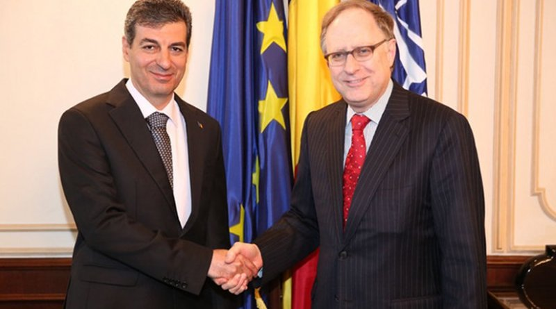 NATO Deputy Secretary General Alexander Vershbow meets with the Minister of National Defence of Romania, Mihnea Motoc. Photo Credit: NATO