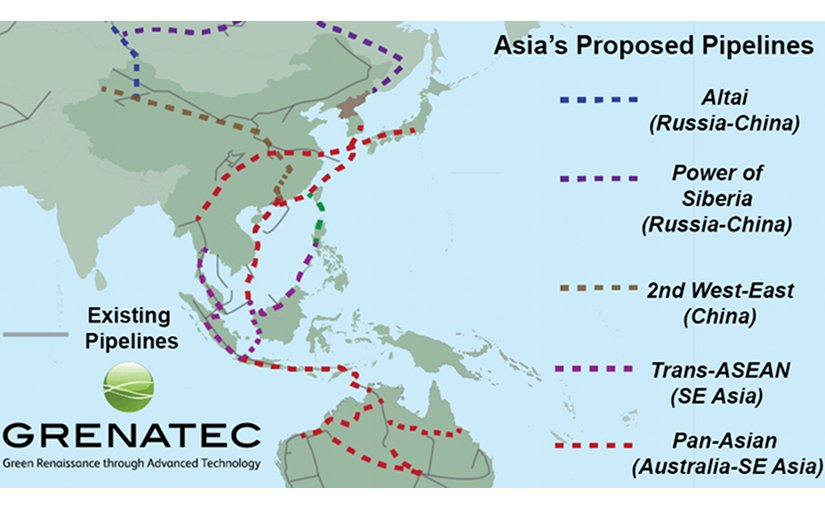 Proposed and planned new gas pipelines in Asia are rapidly creating a network spanning the region. If interconnected, they would create a highly-efficient network. Source: Grenatec.