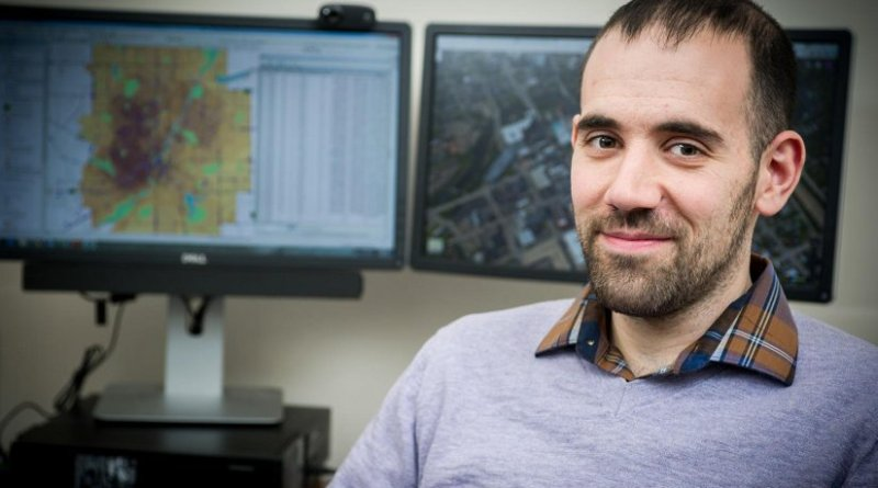 Michigan State University public health researcher, Rick Sadler, is helping the city of Flint combat its lead problem through his mapping research. Credit G.L. Kohuth