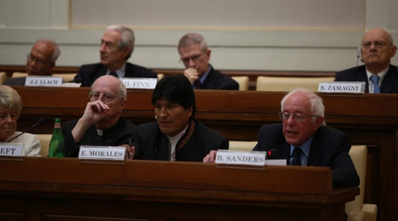 "Ecuador's Evo Morales and US' Bernie Sanders at at a conference celebrating the 25th anniversary of Pope John Paul II's ""Centesimus Annus."" Photo Credit: Bernie Sanders for 2016 Website."