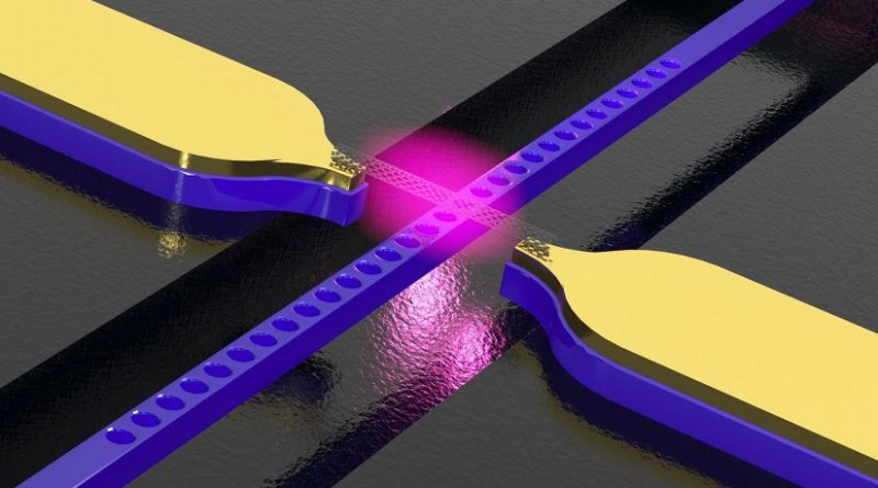 Carbon nanotube above a photonic crystal waveguide with electrodes. The structure converts electric signals into light. Credit Photo: WWU