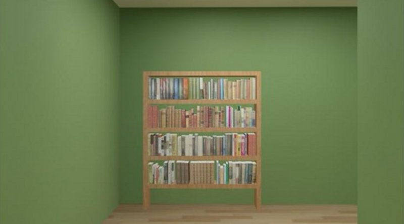 Participants in this Alzheimer's disease study used a joystick to navigate a virtual maze and locate landmarks, such as this bookcase. Credit Courtesy of Denise Head