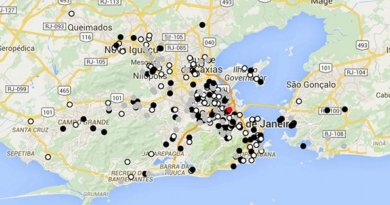 Spatial distribution at Rio de Janeiro State for cases tested positive (black dots), tested negative (dark gray dots) and not tested yet (light gray) for ZIKV between January 1, 2015 and July 31, 2015. The red dot indicates the Instituto Nacional de Infectologia, where patients were seen. Credit Brasil et al.
