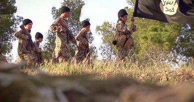 Screenshot from Islamic State propaganda video of child soldiers.