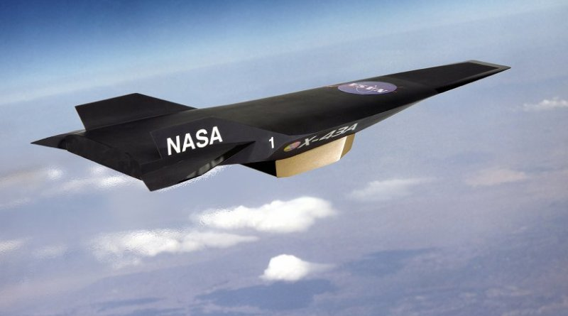 Artist's conception of the NASA X-43 with scramjet attached to the underside. Credit: NASA, Wikipedia Commons