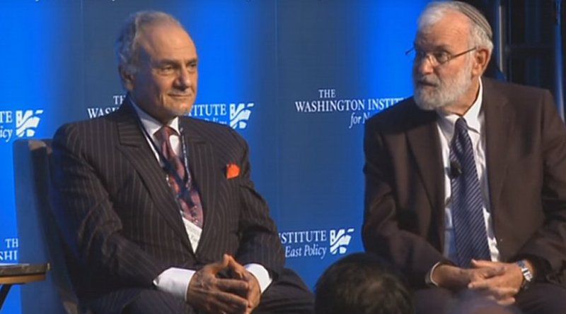 Former Saudi intelligence chief Prince Turki bin Faisal and retired Israeli Major General Yaakov Amidror together at a Washington event hosted by The Washington Institute for Near East Policy. (Photo: Youtube).