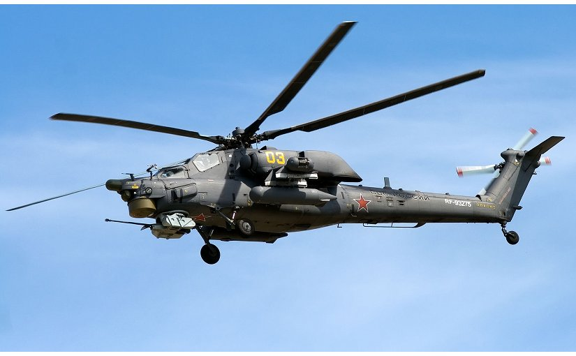 "Russia's Mi-28NE ""Night Hunter"" military helicopter. File photo by Artem Katranzhi, Wikipedia Commons."