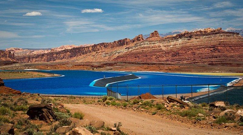 Potash evaporation ponds near Moab, Utah. Photo by Orange Suede Sofa, Wikipedia Commons.