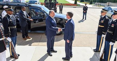 Defense Secretary Ash Carter, right, greets Israeli Defense Minister Avigdor Lieberman at the Pentagon, June 20, 2016, before a meeting to discuss the U.S.-Israel defense relationship. DoD photo by Army Sgt. 1st Class Clydell Kinchen
