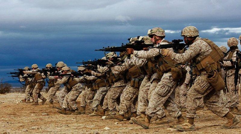 "U.S. Marines practice ""combat gliding"" during Integrated Training Exercise 2-15 at Camp Wilson on Twentynine Palms, California, January 2015 (U.S. Marine Corps/Kathryn Howard)"