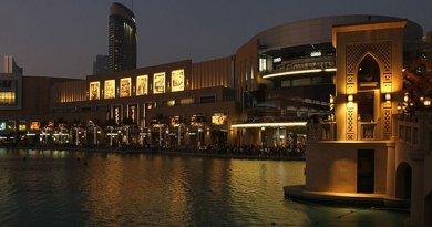 Dubai Mall near the Fountain at Dusk. Photo by Donaldytong, Wikipedia Commons.