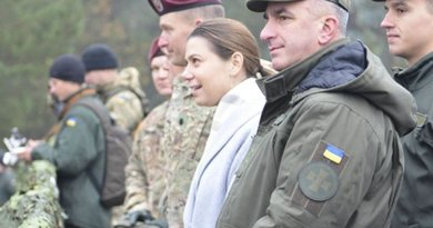 Elissa Slotkin, acting assistant secretary of defense for international security affairs, is seen with Ukrainian army Lt. Gen. Mykola Balan, foreground, and U.S. Army Lt. Col. Michael Kloepper, to her right, commander of 2nd Battalion, 503rd Infantry Regiment, 173rd Airborne Brigade, at the International Peacekeeping and Security Cooperation Center near Yavoriv, Ukraine, Nov. 6, 2015. At the Aspen Security Forum in Colorado on July 28, 2016, Slotkin said Russia is pushing the boundaries of its foreign policy. Army photo by Staff Sgt. Adriana Diaz-Brown