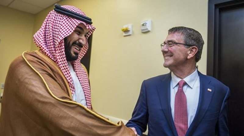 US Defense Secretary Ash Carter meets with Saudi Defense Minister and Deputy Crown Prince Mohammed bin Salman during a meeting of defense ministers and senior leaders from the coalition to counter the Islamic State of Iraq and the Levant at Joint Base Andrews, Md., July 20, 2016. DoD photo by Air Force Tech. Sgt. Brigitte N. Brantley