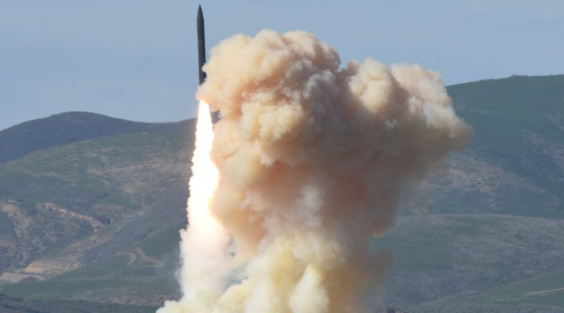 A long-range ground-based interceptor is launched from Vandenberg Air Force Base, California, successfully evaluating performance of alternate divert thrusters for the system's Exoatmospheric Kill Vehicle. Photo Credit: US DoD's Missile Defense Agency.