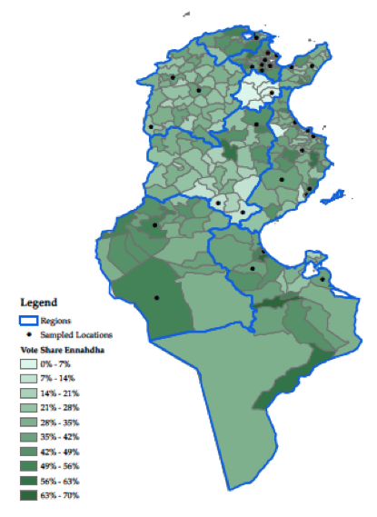 Figure 2. Votes for Ennahdha and district-level wealth, district by district a. Vote for Ennahdha