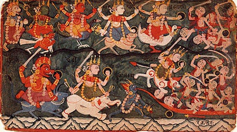 The Goddess Ambika or Durga leading the Eight Matrikas in Battle Against the Demon Raktabija, Folio from a Devi Mahatmya - (top row, from the left) the Matrikas - Narashmi, Vaishnavi, Kumari, Maheshvari, Brahmi. (bottom row, from left) Varahi, Aindri, Chamunda or Kali (drinking the demon's blood), Ambika. On the right, demons arising from Raktabija's blood. Source: Wikipedia Commons.