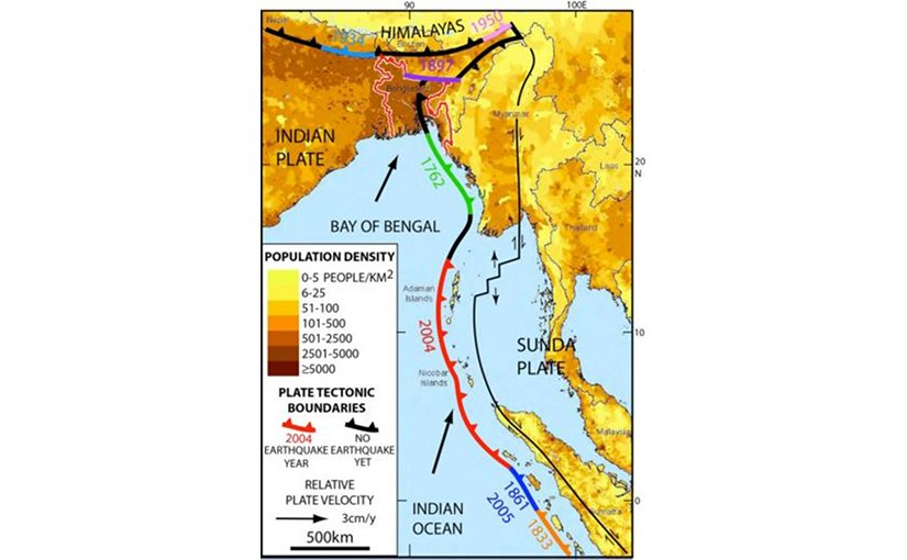 Bangladesh, Myanmar and eastern India (all near top) are bisected by an extension of the tectonic boundary that ruptured under the Indian Ocean in 2004, killing some 230,000 people. Known quakes along the boundary's southern end are shown in different colors; the black sections nearer the top have not ruptured in historic times, but new research suggests they could. Credit Michael Steckler/Lamont-Doherty Earth Observatory